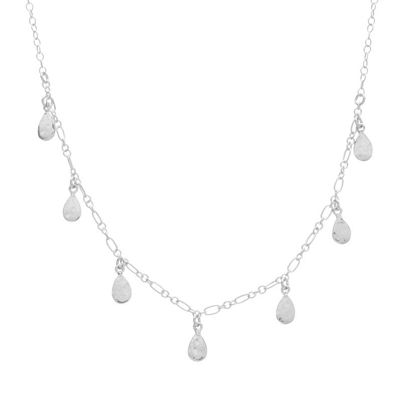 Teardrop Necklace, Silver