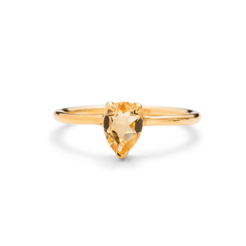 Teardrop Ring, Citrine, Gold