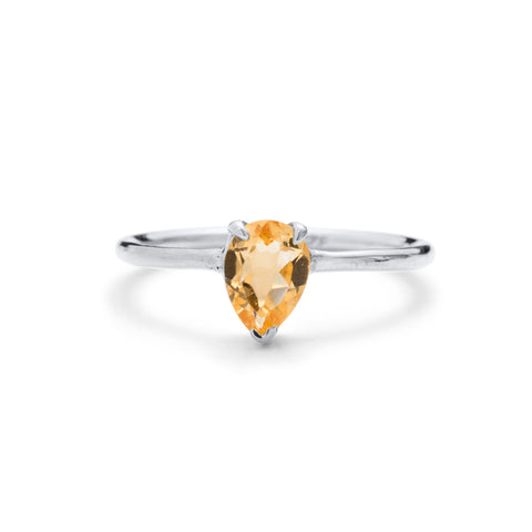 Teardrop Ring, Citrine, Silver