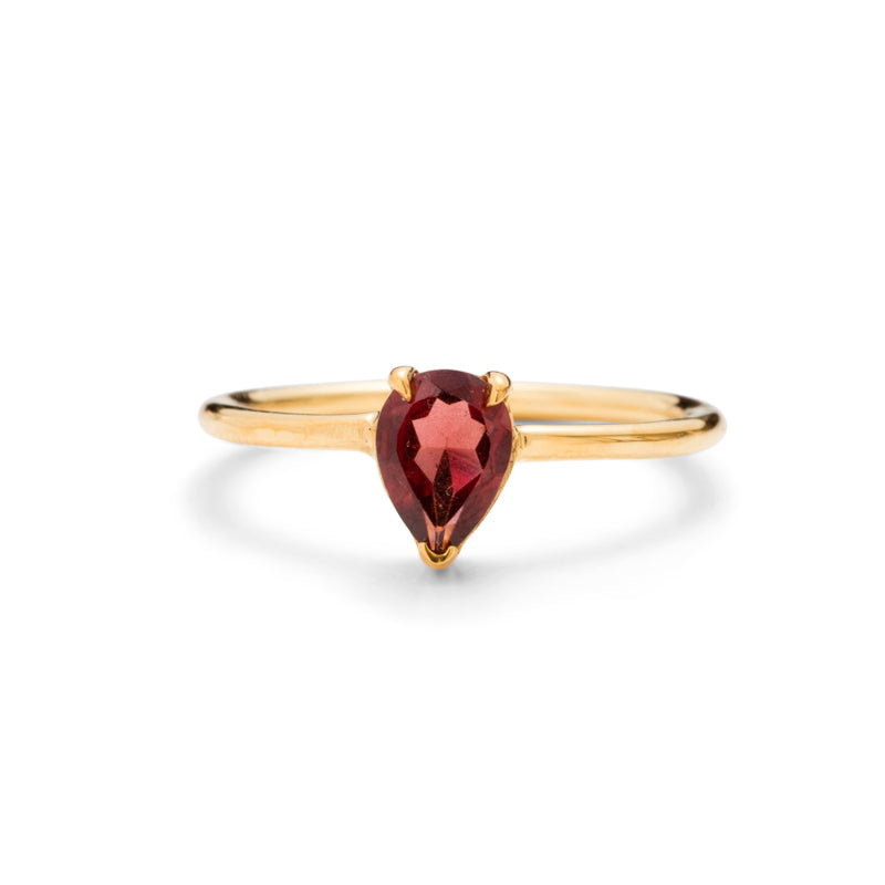 Teardrop Ring, Garnet, Gold