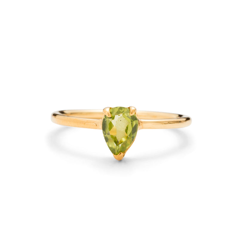 Teardrop Ring, Peridot, Gold