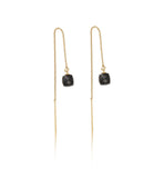 Thread, Earring, Black, Onyx, Gold, Kerry, Rocks, Jewellery