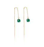 Thread,earring, green, onyx, cube, gold, kerry, rocks, jewellery