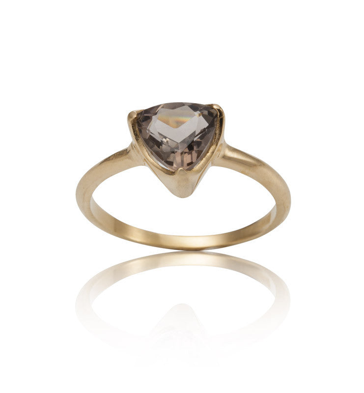 Trillion Ring, Smokey Quartz, Gold