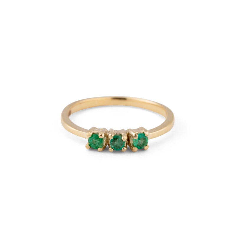 Trinity Ring, Emerald, 9kt Yellow Gold