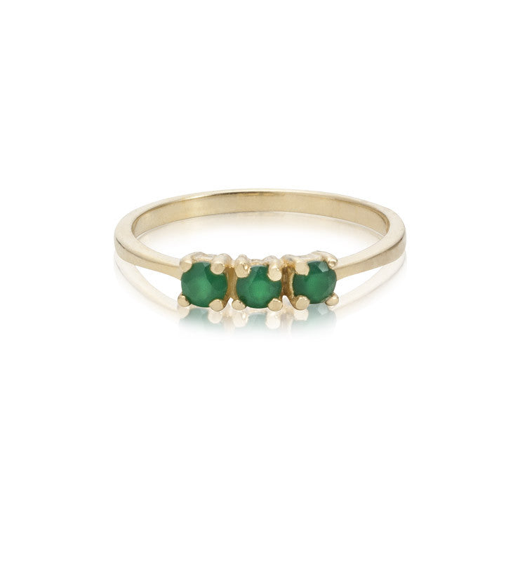 Trinity Ring, Green Onyx, Gold