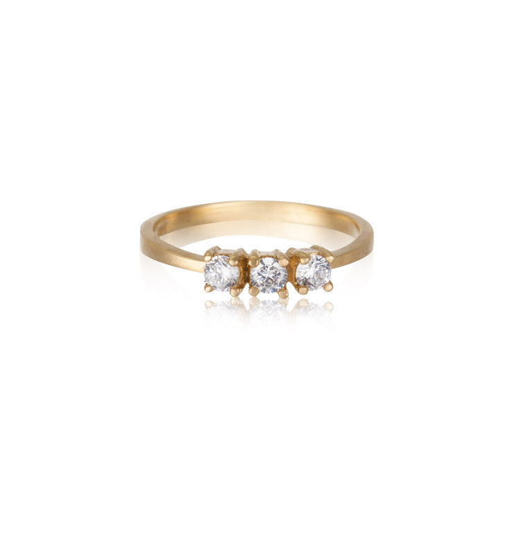 Trinity Ring, White Topaz, Gold