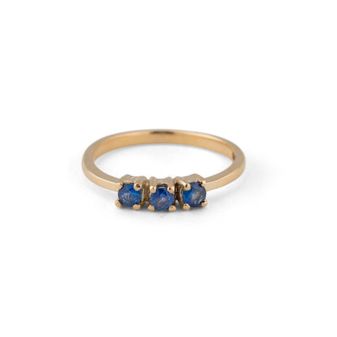 Trinity Ring, Blue Sapphire, 9kt Yellow Gold