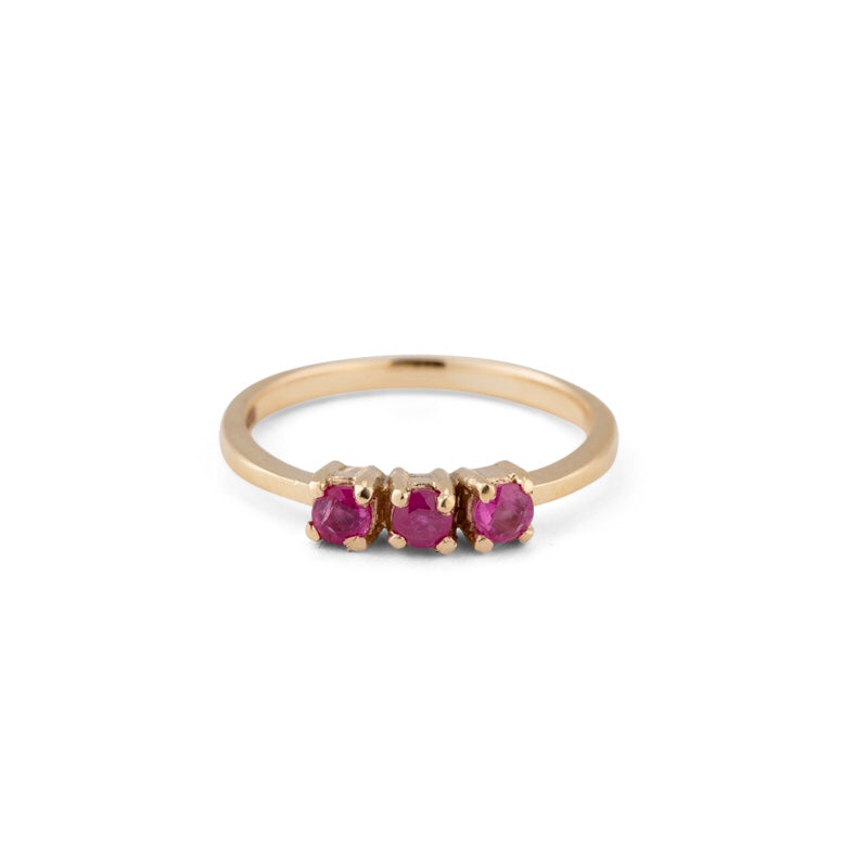 Trinity Ring, Ruby, 9kt Yellow Gold