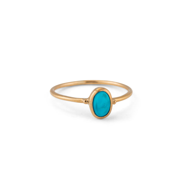 Oval Turquoise Ring, 9kt Yellow Gold