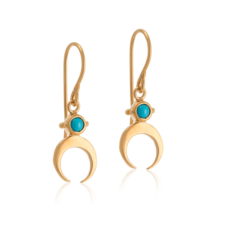 Tusk Earring, Turquoise, Gold