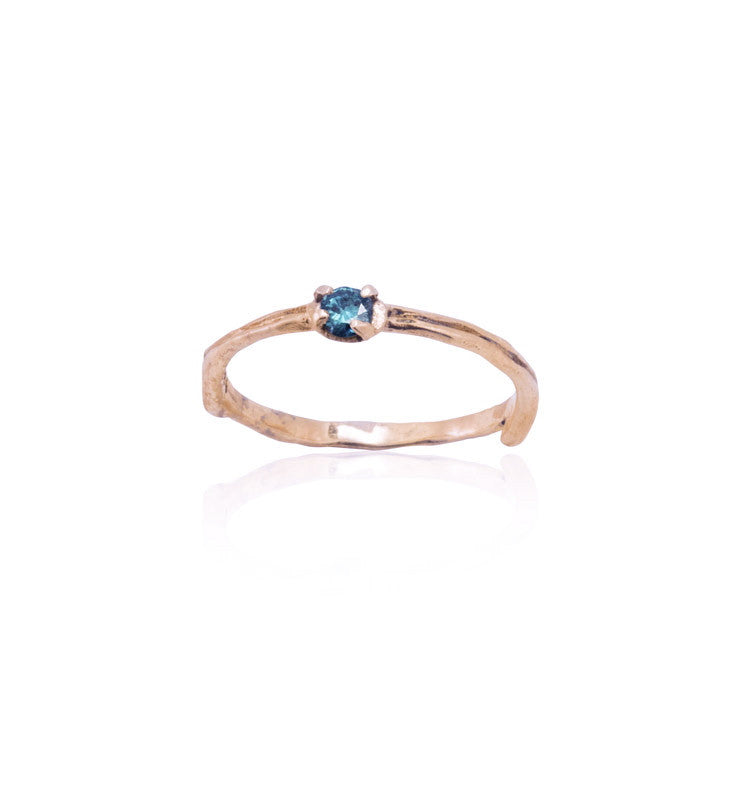 Twig Ring, Blue Diamond, 9kt Rose Gold