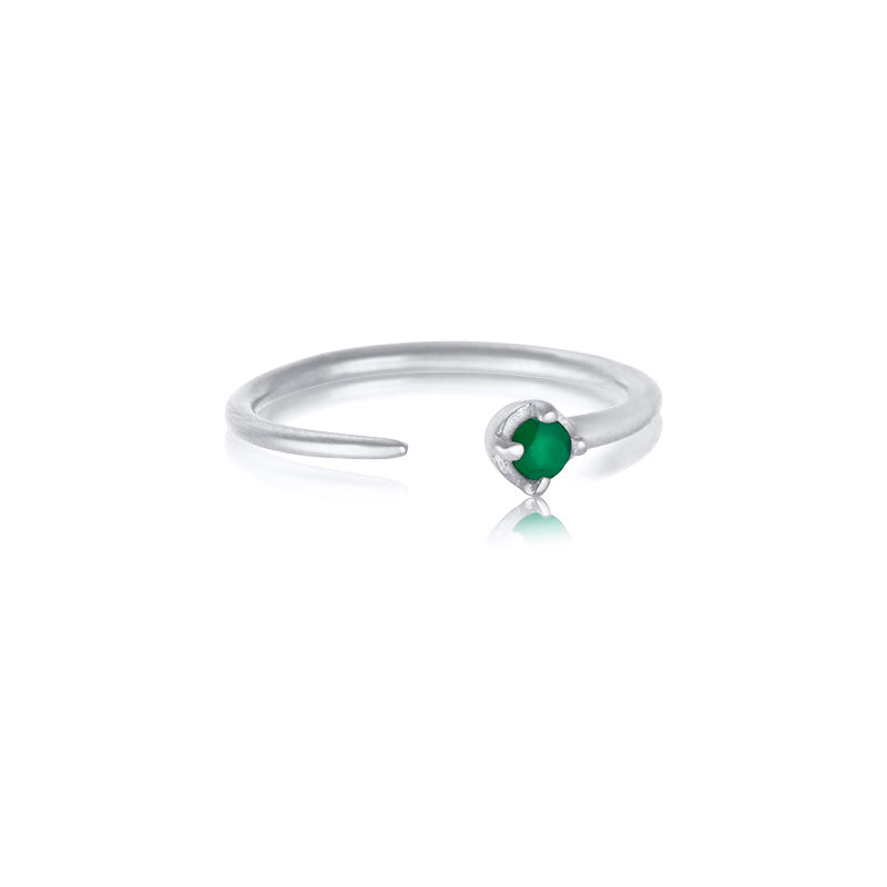 Winkie Ring, Green Onyx, Silver