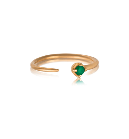 Winkie Ring, Green Onyx, Gold