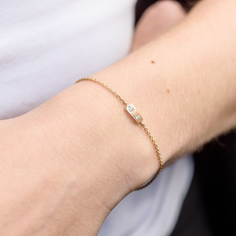 Diamond Tag Bracelet, 9kt Yellow Gold