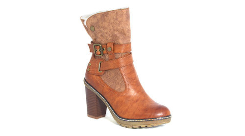 Block Heel Buckle Boot