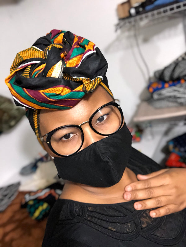 Black kente Head Wrap with Facemask