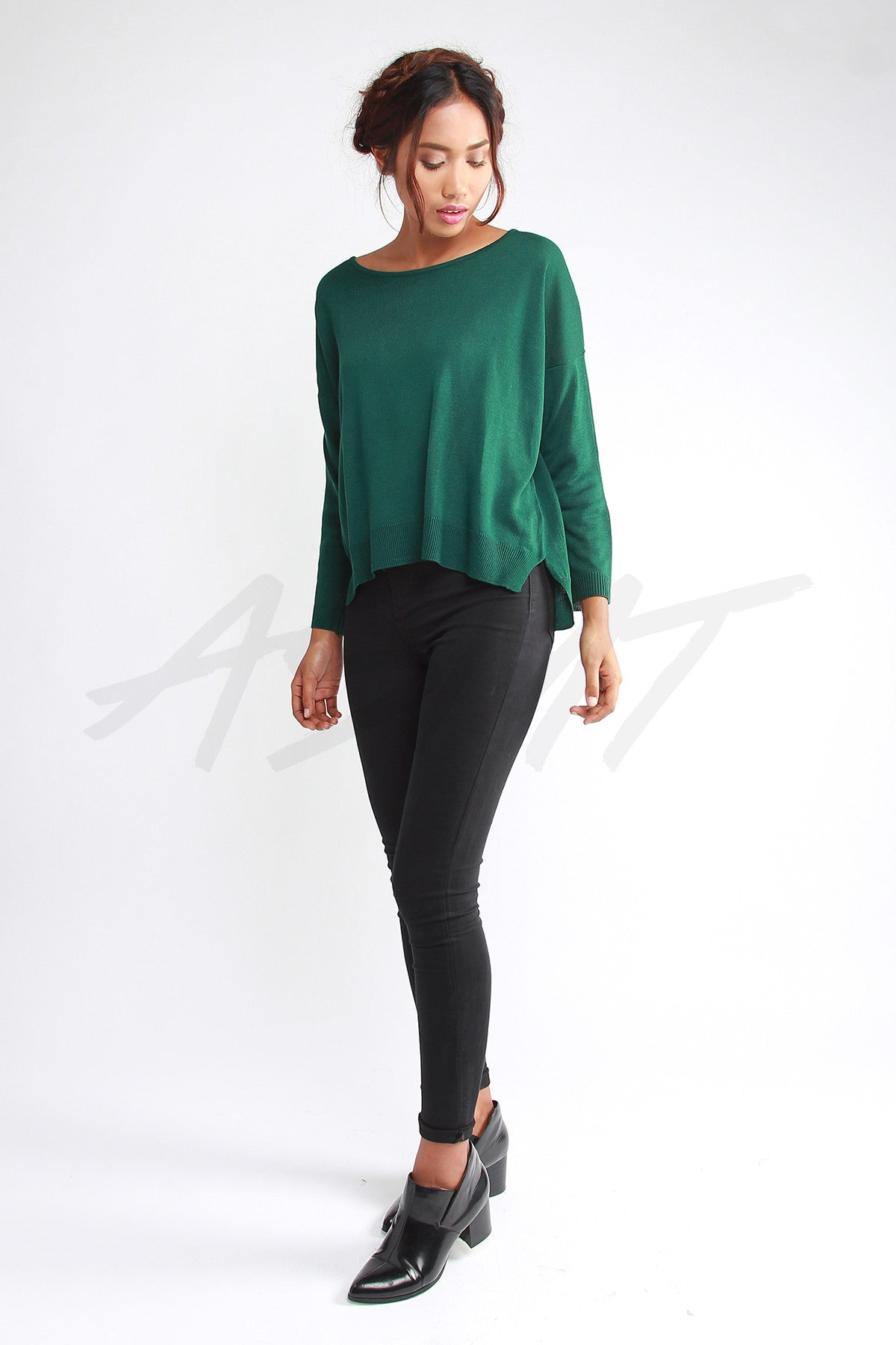 Basic Knit Sweater – Forest Green