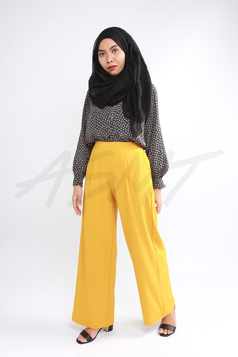 ASMT Basic Wide Leg Pants - Mustard