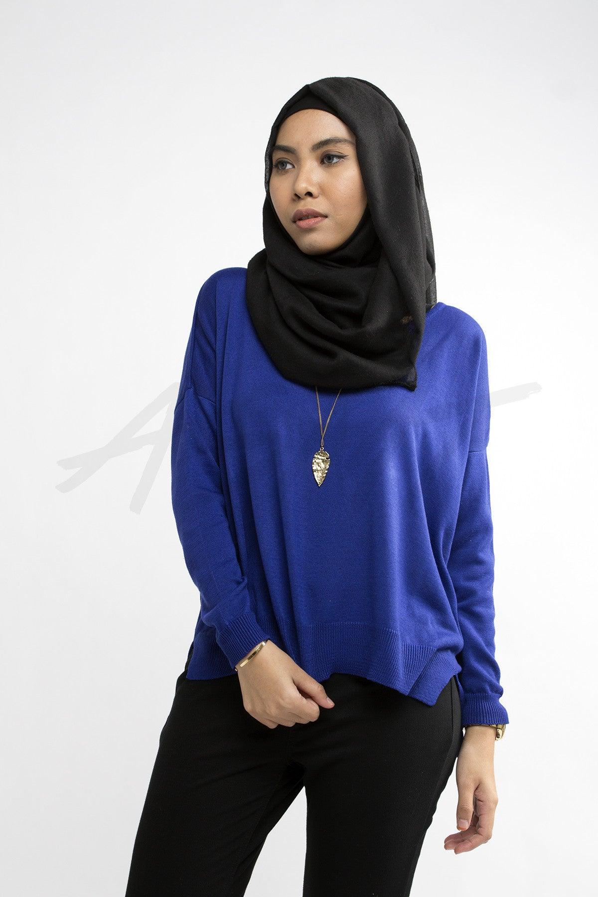 Basic Knit Sweater - Cobalt