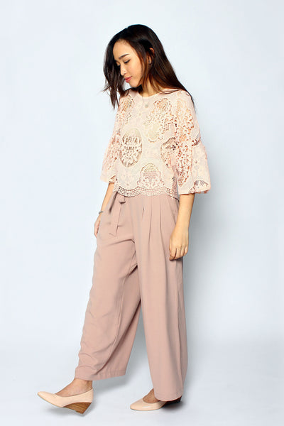 Front Tie Wide Leg Pants - Powder Pink