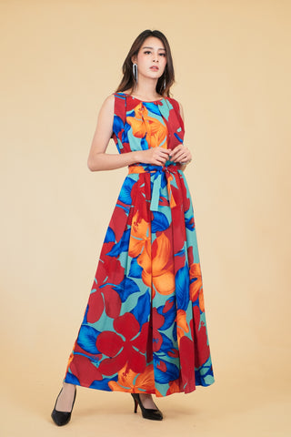 Serena Maxi Dress - Red Blue
