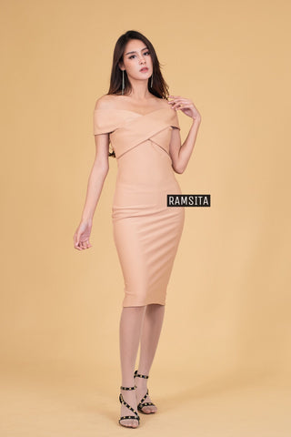 Alicha Off Shoulder Dress - Tortilla Gold