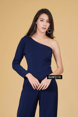 Armela One Shoulder Long Sleeve Jumpsuit - Navy Blue