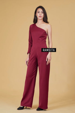 Armela One Shoulder Long Sleeve Jumpsuit - Burgundy
