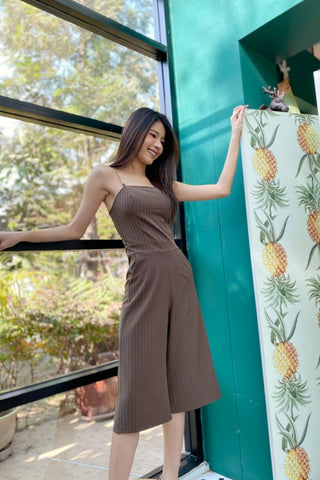 PARICHANA STRIPE JUMPSUIT MOCCA BROWN