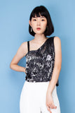 Gliztle One Shoulder Top - Black Silver