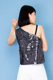 Gliztle One Shoulder Top - Black