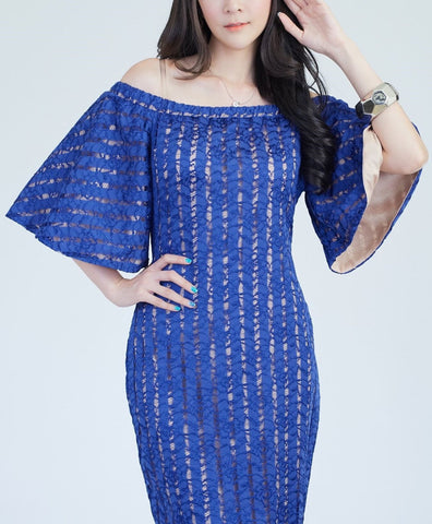 Burasa Off Shoulder Lace Dress - Blue