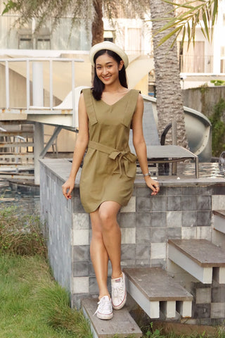 CHRISTY DRESS - OLIVE GREEN