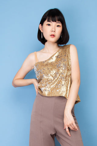 Gliztle One Shoulder Top - Gold