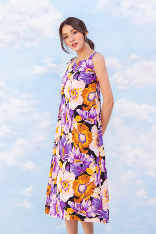 Sista Box Trinity Floral Midi Dress - Purple