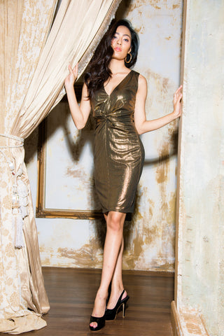Fiona Dress Gold Black