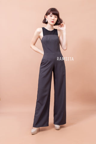 Vanda Stripe Jumpsuit Dark Grey