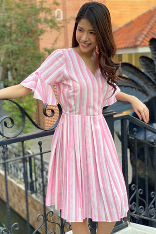 ARANYA MIDI DRESS STRIPE PINK