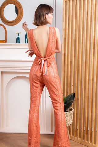 Emillia Lace Jumpsuit Brick Brown