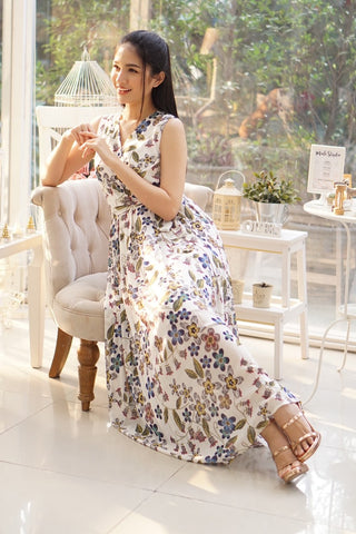 Sirene Maxi Dress Floral Off White