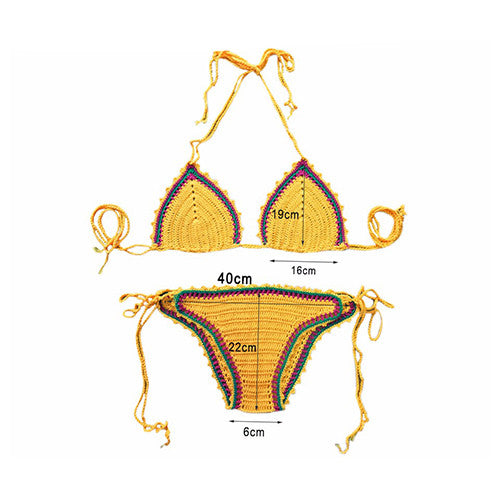 Yellow Beach Crochet Sexy Handmade Swimsuit Bikini