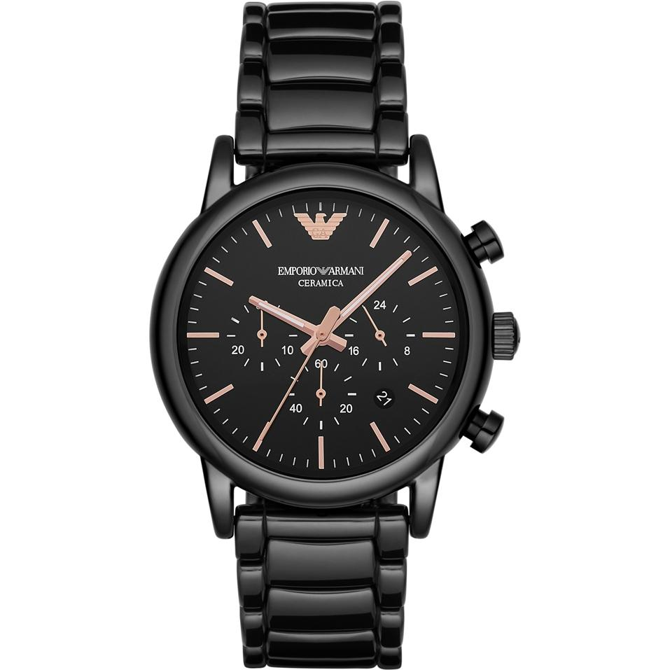 Emporio Armani AR1509 Men's Rose Gold And Black Ceramic Chronograph Watch