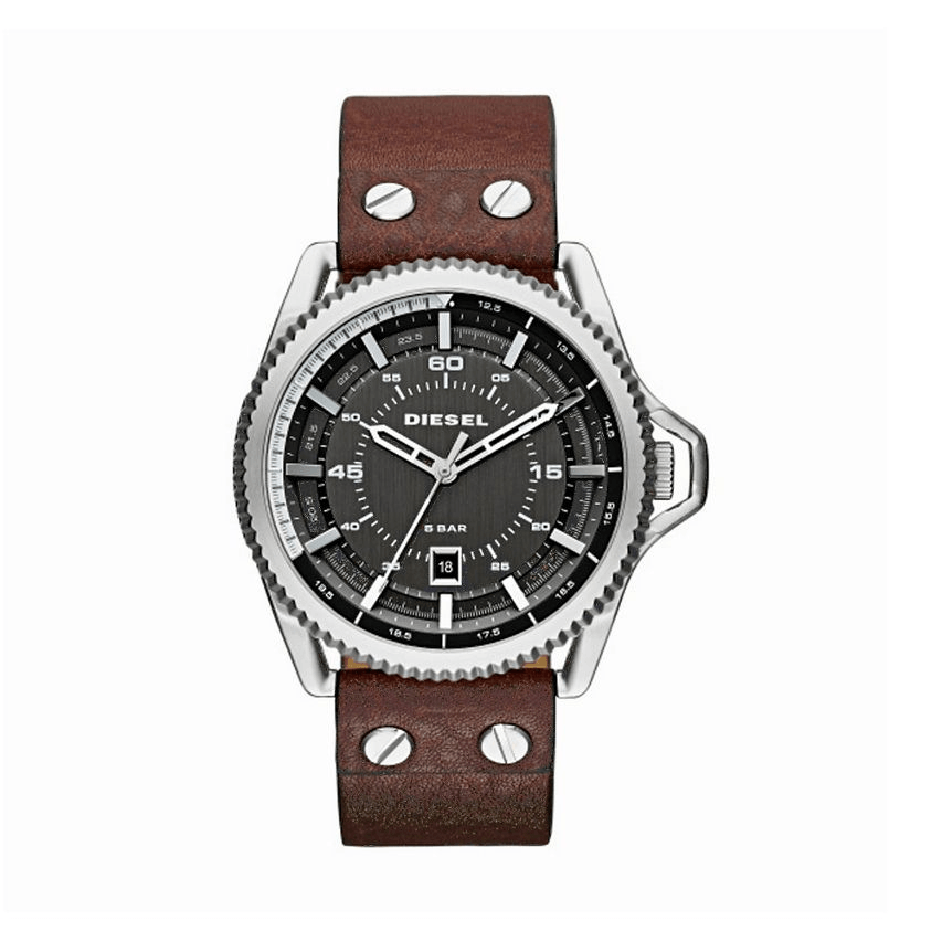 Diesel DZ1716 Rollcage Silver, Gunmetal Dial & Brown Leather