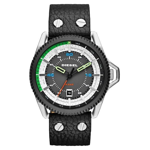 Diesel DZ1717 Rollcage Black Leather Men's Watch