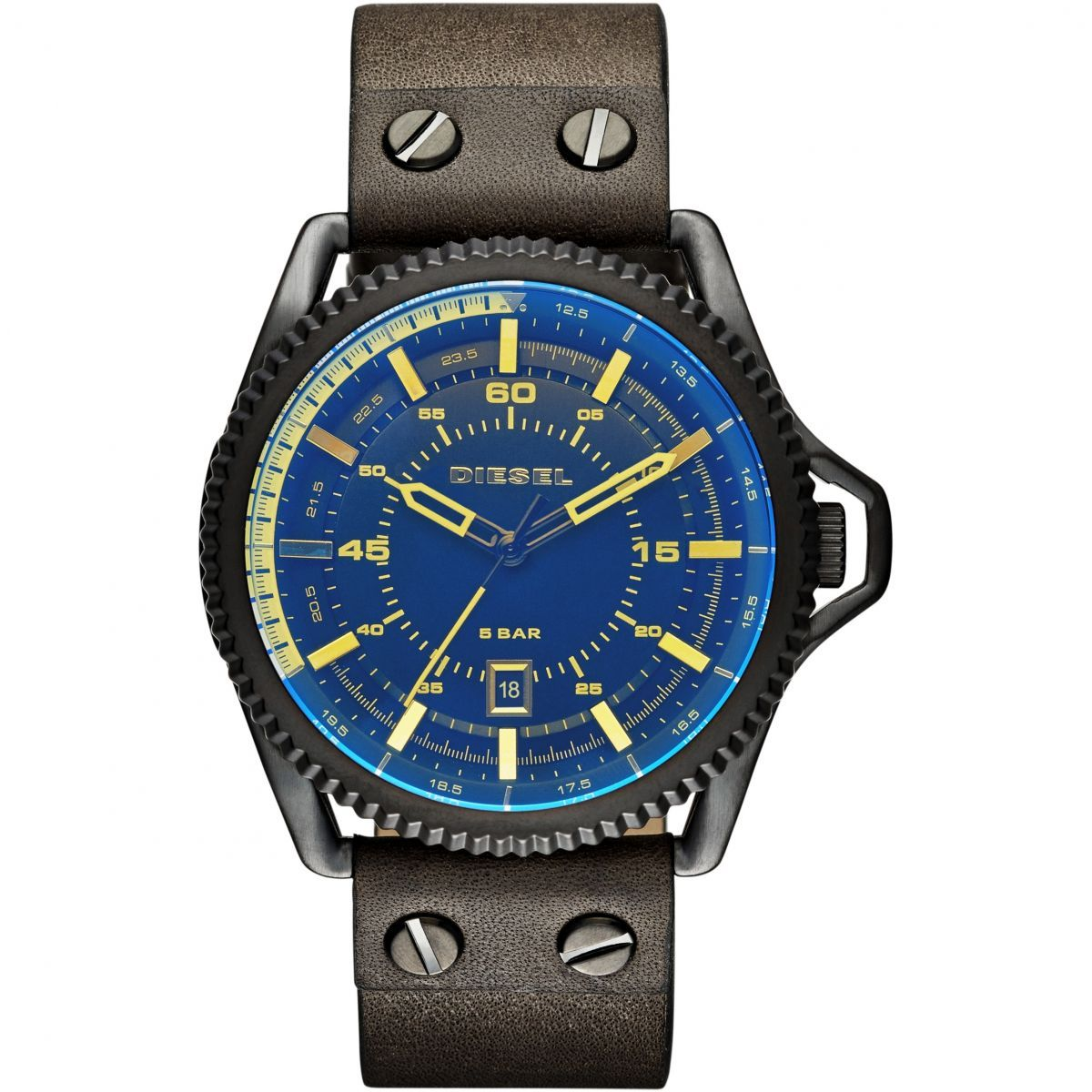 Diesel DZ1718 Men's Black, Blue Dial & Dark Green Roll Cage Watch