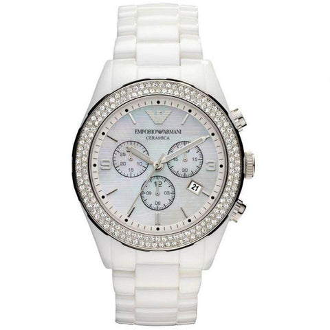 Emporio Armani AR1456 Ladies Ceramica Ceramic Chronograph Watch