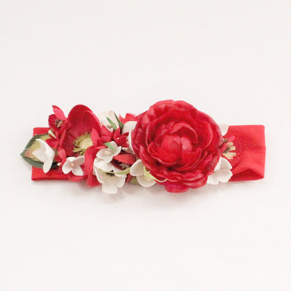 Red headband with red flower for girls
