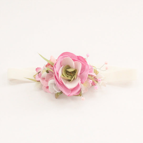 Ivory headband with pink flower for girls