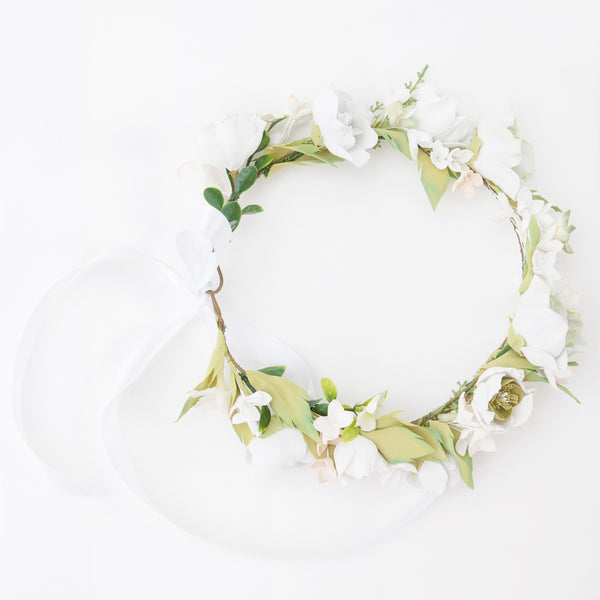 White floral head wreath
